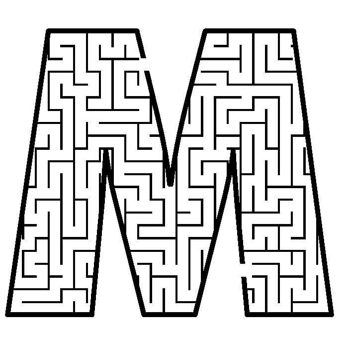 Letter M shaped maze from PrintActivities.com