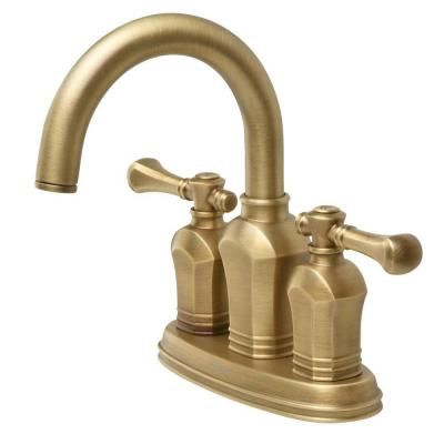 Centerset 2 Handle Bathroom Faucet In Antique Br