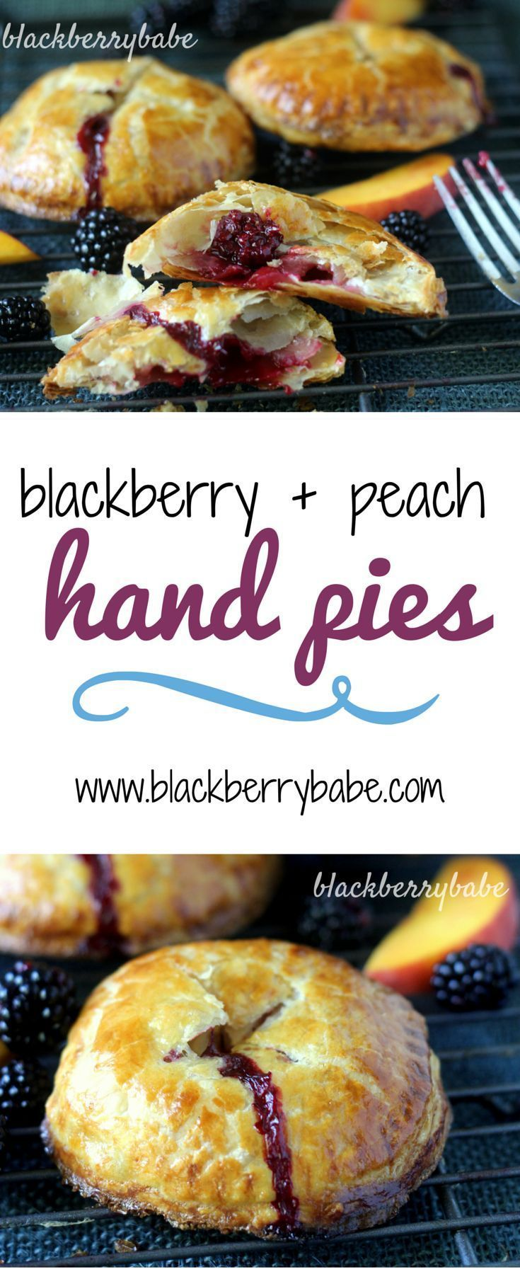 Fresh Blackberry and Peach Hand Pies! Mini pies filled with fresh summer fruit. #pie #blackberry #peach #baking #dessert Using frozen puff pastry makes these much easier than you think, and the filling is SO good!