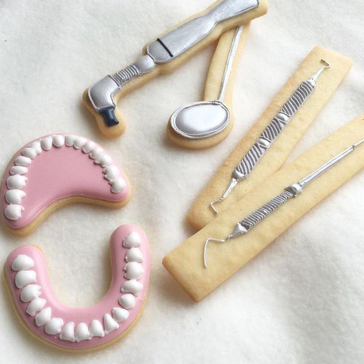 Dentist cookie - upper and lower teeth, dental tools by LittleSugar