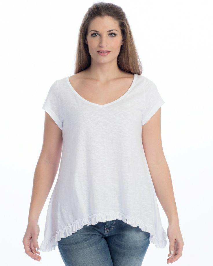 Βαμβακερή μπλούζα με ruffled τελείωμα — mat. XXL sizes