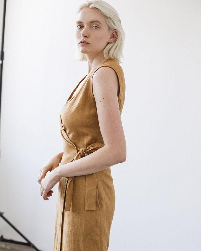 e1ee071e5f47b Linen Wrap Dress Calf Length in 2018