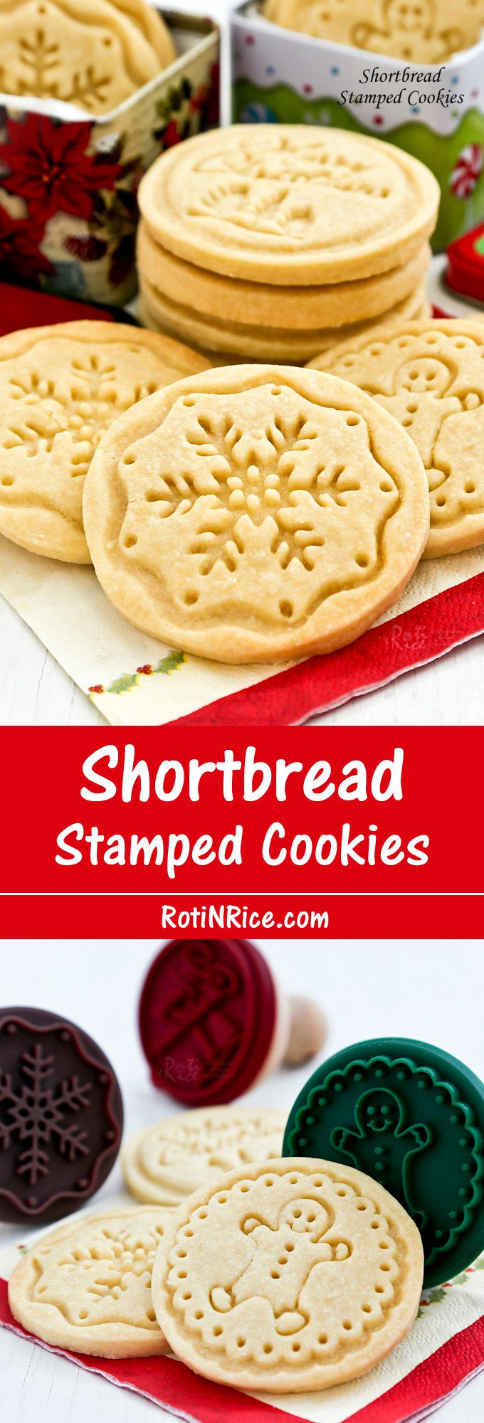 Buttery melt-in-the-mouth Shortbread Stamped Cookies using only 4 simple ingredients. A beautiful and delicious addition to any holiday.   RotiNRice.com