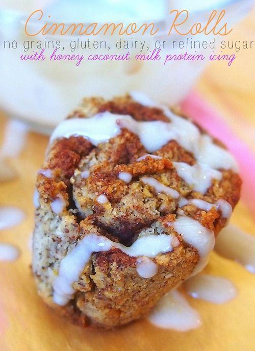 Cinnamon Rolls Glazed With a Protein Honey Coconut Milk Icing! (Grain, Gluten, Dairy, and Refined Sugar Free)