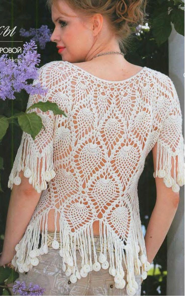 Bellísima blusa tejida con ganchillo - con patrones y diagramas | Crochet y dos agujas