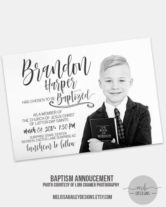 LDS Baptism Announcement Boy Invitation  by MelissaBaileyDesigns