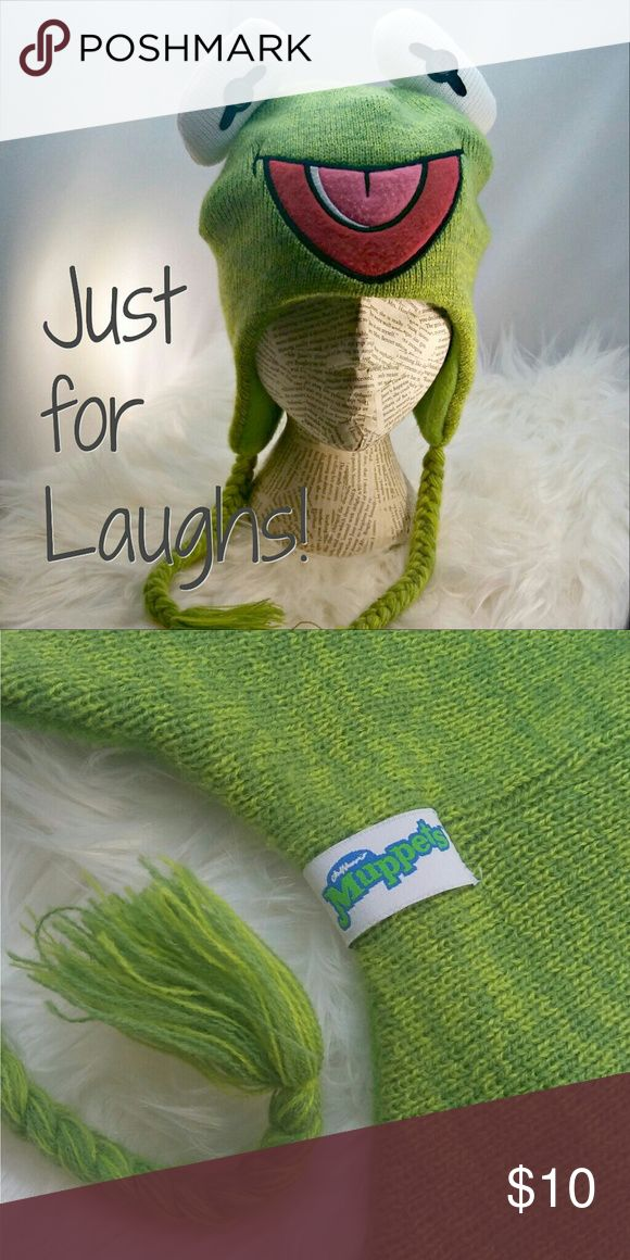 Disney Muppets Kermit the Frog Fleece Knit Hat Warm and fun to wear you can usher in spring with a laugh! EUC only worn a couple of times on stage. Disney Accessories Hats