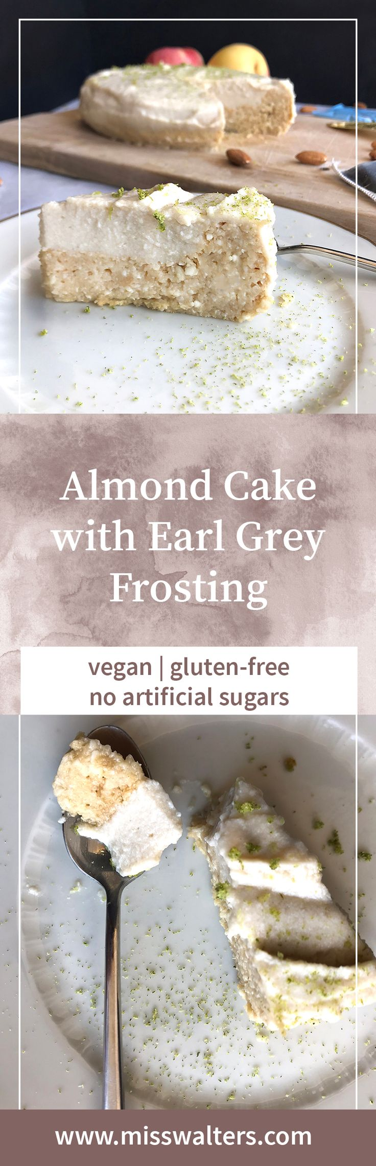 This almond cake sports a lovely citrus note and is topped with a vegan Earl Grey cream frosting.