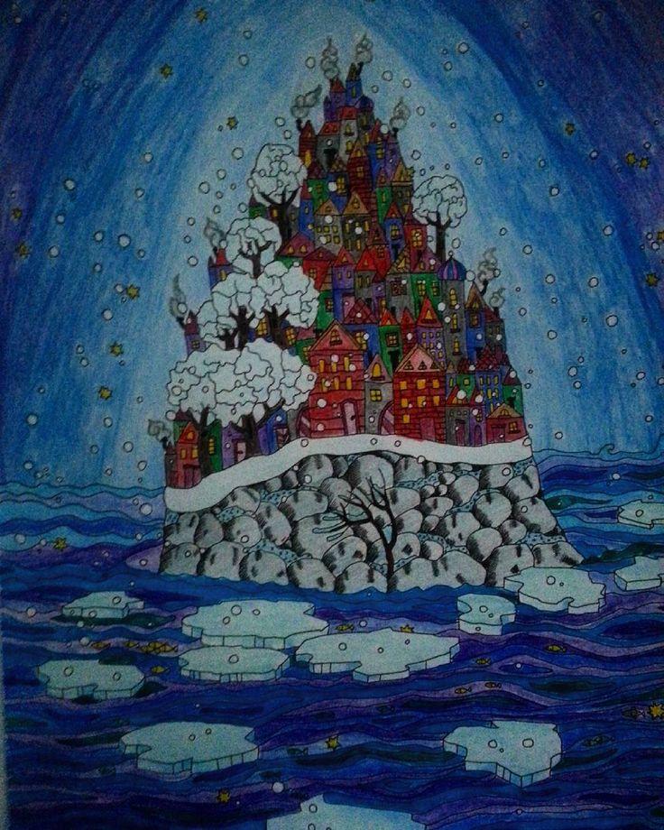 """""""#wyspy #anitagraboś #sztukakolorowania #kolorowankidladorosłych #kolorowanka #zima #relax"""""""