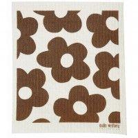 Vaatdoek 'Bruine bloemen' - Malin Westberg (www.designfabrix.com)