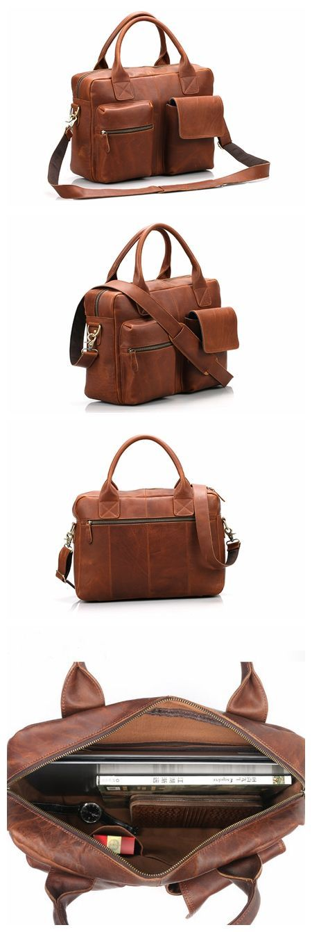 Handmade Top Grain Vintage Brown Leather Briefcase Messenger Bag Men's Handbag 15'' Laptop Bag NZ04 #MensFashionVintage