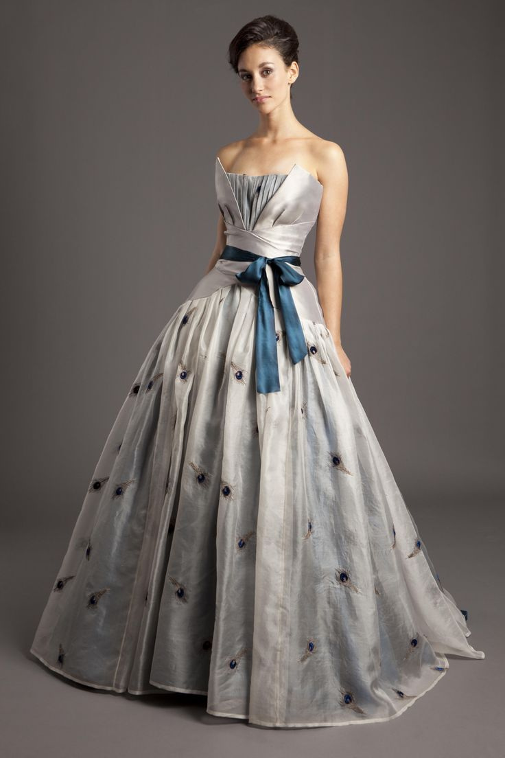 Corseted Ball Gown Split Front Bodice In Platinum Duchess