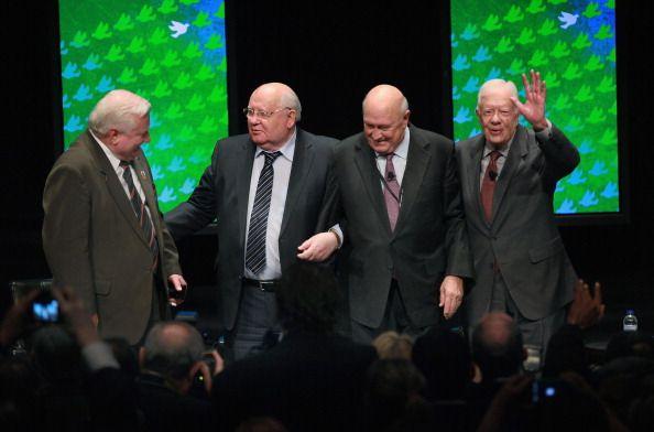 Former Polish President Lech Walesa former Russian President Mikhail Gorbachev former South African President Frederik Willem de Klerk and former US...