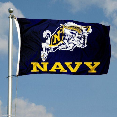 Navy Double-Sided 3x5 Flag by College Flags and Banners Co.. $59.95. Identical Flag as flown over the College Football Hall of Fame. Double-Sided and Readable Correctly on Both Sides. Officially Licensed by US Navy. 2-Ply Nylon Material with Embroidered College Logos and Lettering. 3'x5' in Size with Sturdy Metal Grommets and Quad-Stitched Flyends. This Navy Double-Sided 3x5 Flag is made of 2-ply nylon, measures 3x5 feet in size, has quadruple-stitched fly ends, and the Of...