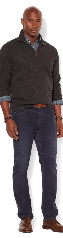 Polo Ralph Lauren Big and Tall Half-Zip French-Rib Sweater