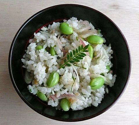 Edamame mixed sushi rice. Healthy recipe from Edo period 400 years ago.