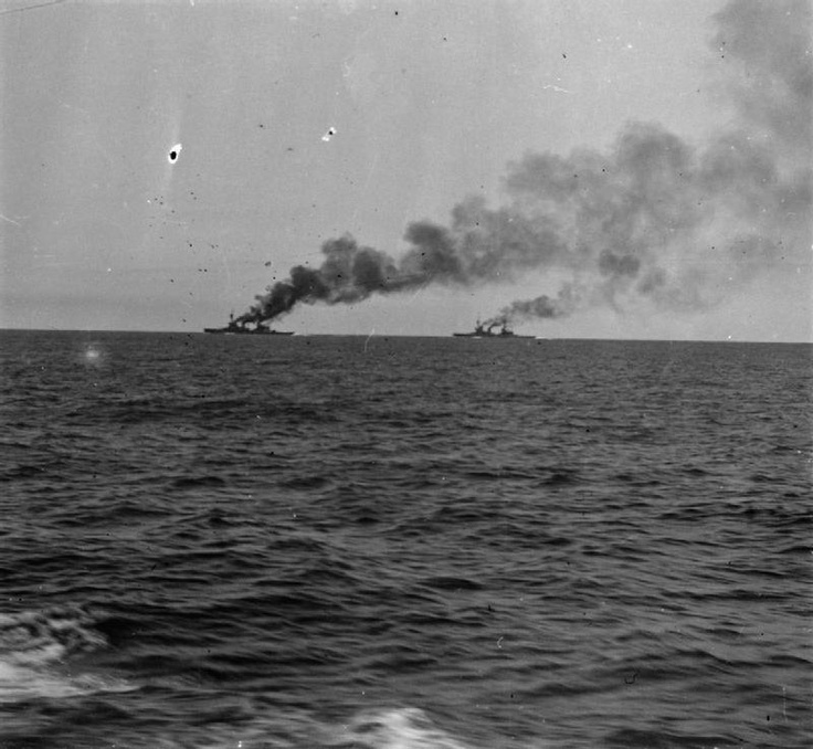 THE BATTLE OF THE FALKLAND ISLANDS 8 DECEMBER 1914. HMS Invincible and Inflexible.