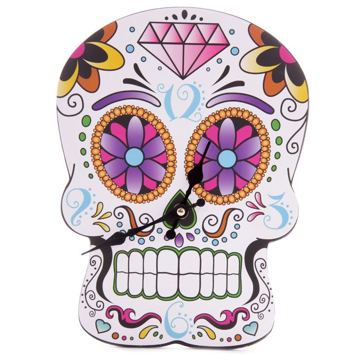 Fun Day of the Dead Skull Shaped Wall Clock £15 + FREE P&P  Each clock is made from MDF and has a standard plastic clock movement that requires 1 AA battery. All are wall mountable and come in a decorative but simple display box making them ideal gifts.  Dimensions: 21.5 x 30cm  #htlmp #readytopost #hikerneeds #clocks #skulls #gifts #flowers #DayoftheDead