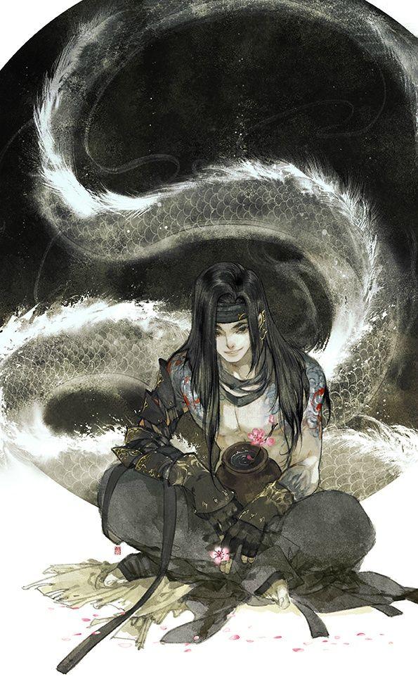 Chinese, illustration, black hair, dragon. Cái Bang