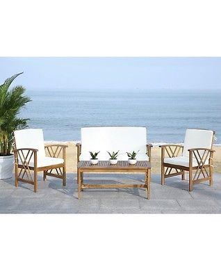 4-piece Acacia Wood Outdoor Furniture Set (Beige) - Outdoor Patio Set  | eBay  Make your patio the most inviting one in town with this outdoor furniture set. This luxe outdoor furniture set features a bold double-X motif, adding modern style to a classic furniture set.