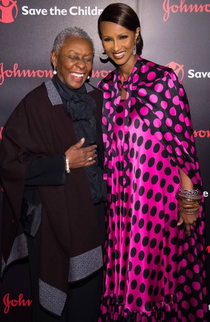 Iman, with her dear friend Bethann Hardison, attending the Illumination Gala for Save the Children on 10/25/2016. Posted on Iman's Facebook