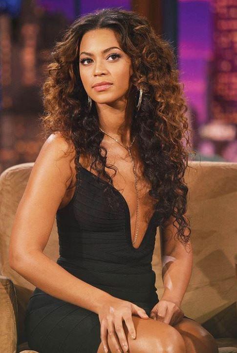 Beyonce Knowles in black dress