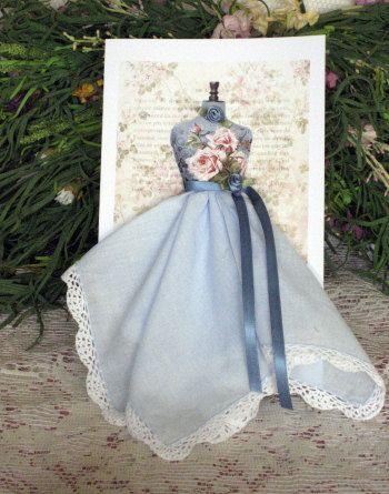 fabric skirt (vintage hanky) on dress form card