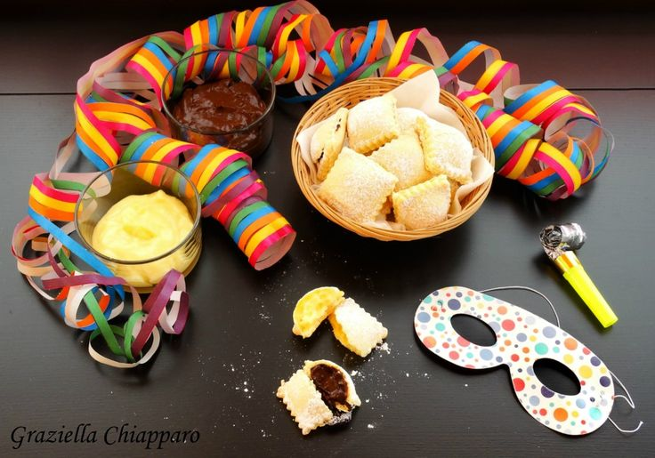 Ravioli+dolci+al+forno+ripieni+di+crema+ +Ricetta+di+Carnevale