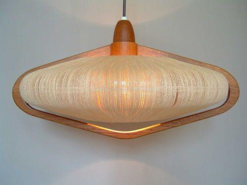 Danish Modern PENDANT LIGHT Teak Rope Mid Century Lamp 50s