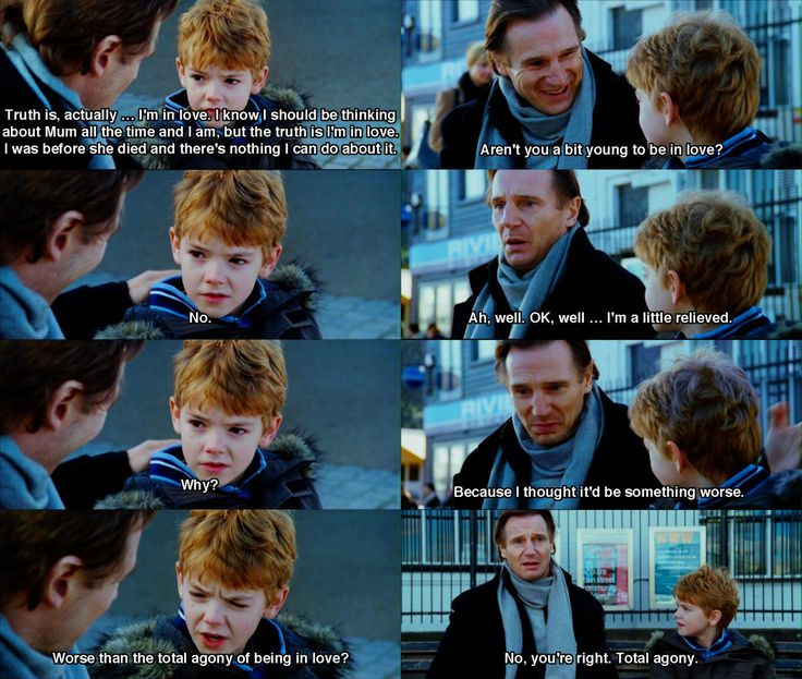 Sam's young, but he knows what he's talking about.  #LoveActually  #LiamNeeson  #ThomasBrodieSangster