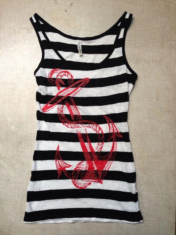 Anchor tank top sailor black and white stripped pinup pin up clothing horror cute on Etsy, $15.00