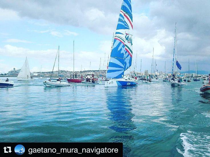 Buon vento #Gaetano!  Ancora un'immagine dell'uscita dal porto  di #Cagliari. Una bella partenza ma ora si fa sul serio.  Gaetano verso #gibilterra. Ci siamo quasi si  sente già il profumo di #oceano.  #velista #vela #gaetanomura #barcaavela #barca #nave #soloroundthegloberecord #vento #mediterraneo #oceani #onde #vento #sardegna #sardinia #Cagliari #italy #pic #foto #class40 #saillovers  @sailingstagram @garminmarine_italy @solbian @igersbarcavela @igers_sardegna @igers_cagliari…
