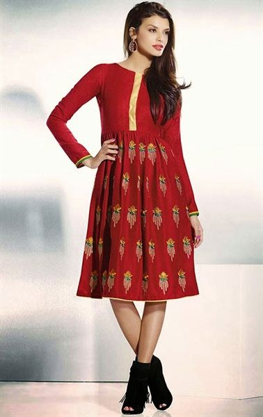 Charming Red Color Splendid Tunic
