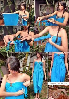 ★How to use Sarong Tie★ diy blue dress 11 DIY Makeovers That You Need To Attempt diy ideas
