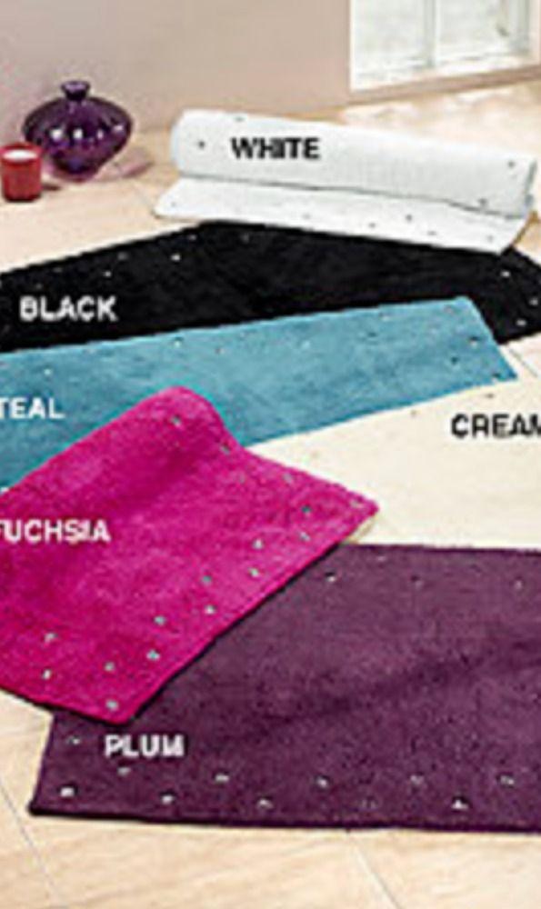 CHEZ TOI LUXURY DIAMANTE COTTON THICK BATH MAT PINK,PLUM,BLACK,TEAL,CREAM NEW  | eBay