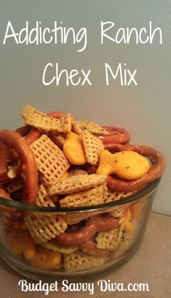 Super Addicting Ranch Chex Mix Recipe         Print            Serves: 3 – 5    Ingredients    12 ounces of mini pretzels  2 cups of corn chex cereal  6 oz of salted cashews  8 ounces of Goldfish crackers  1 packet of ranch salad mix ( dry)  1/4 cup of Canola Oil ( helps the mix stay on the ingredients)        Instructions      Combine all the ingredients in a large bowl VERY well.  Enjoy. Store leftovers in a airtight container ( but there is a good chance there will be no left overs)