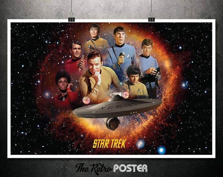 Star Trek - Original Series Cast - Star Trek Enterprise, Spock, Captain Kirk, Sulu, Uhura, McCoy, Scotty, Chekov, Star Trek Print by TheRetroPoster on Etsy