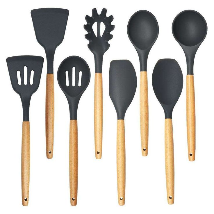 Victory! Check out my        8pcs/set Wood Handle Silicone Non-stick Cooking Utensil Set Spaghetti Spoon Shovel Spatula Ladle Kitchen Utensil Set, snagged at a crazy discounted price with the newfrog.com.