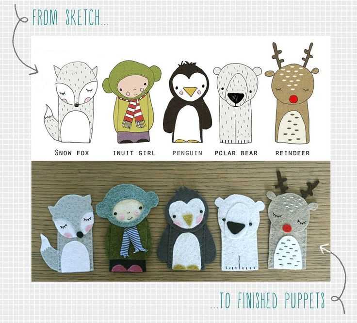 Polar Pals finger puppets, from sketch to finished by Kirsty Neale featured in   http://www.amazon.co.uk/Mollie-Makes-Christmas-Living-Handmade/dp/1908449179/ref=sr_1_1?ie=UTF8=1350759491=8-1
