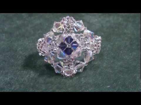 Beading4perfectionists : Beaded Victorian Swarovski / Miyuki ring tutorial - YouTube