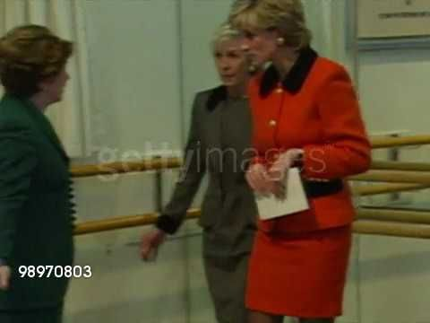 June 12, 1995: Princess Diana talks to pupils and staff at the English National Ballet School in London, England. Video.