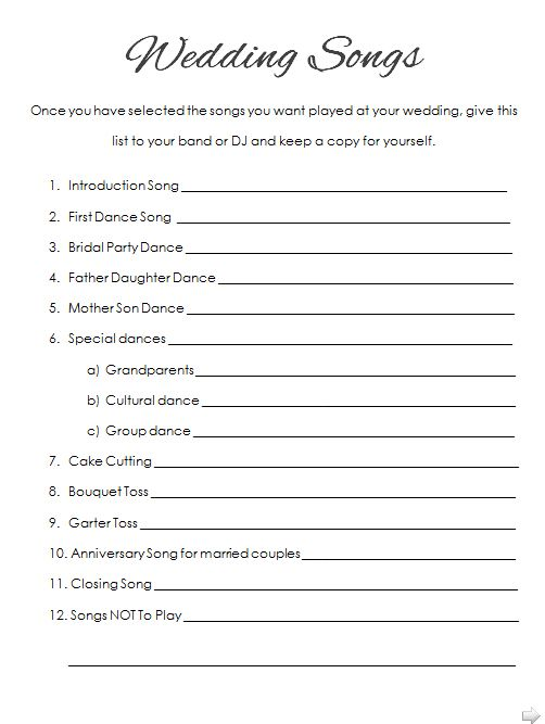 Click To Get A Printable PDF Copy Of Our Wedding Song Checklist Wedding Reception Music