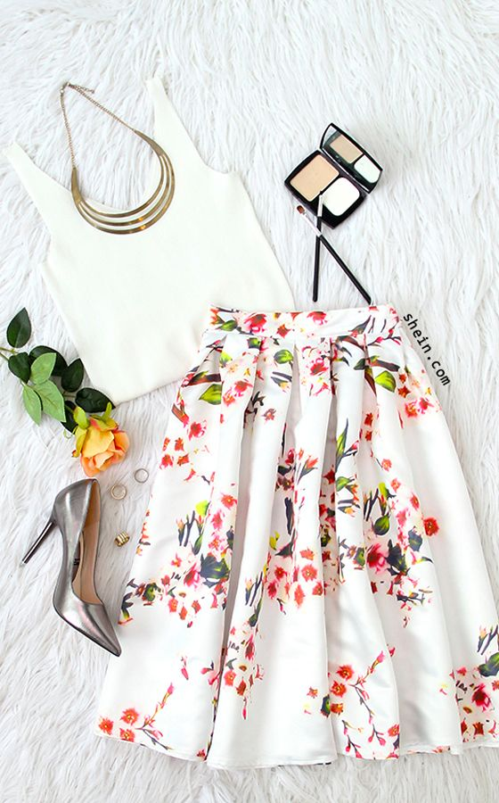 Chic date style-White floral pleated skirt  with crop top outfit.