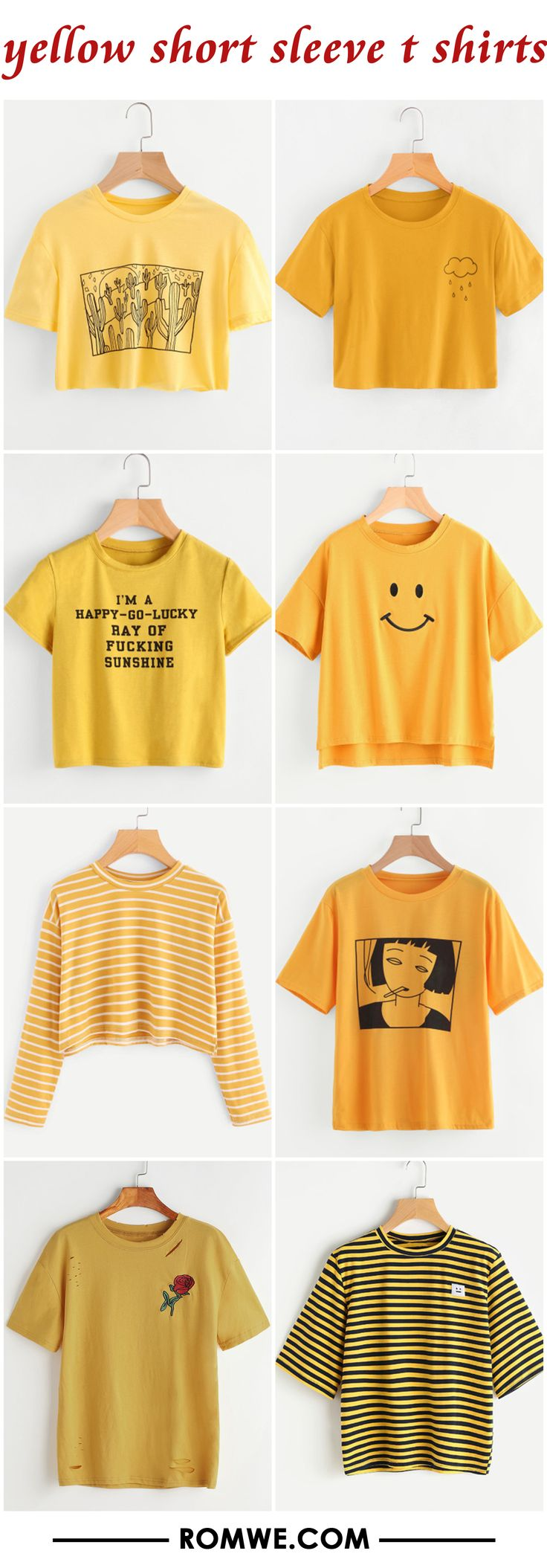 yellow short sleeve t shirts from romwe.com