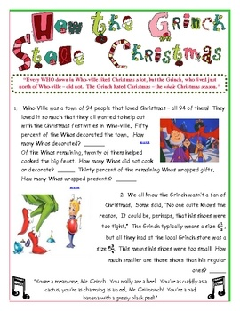 This is a ten page document that reviews concepts from fifth to seventh grade math skills.  The activity goes along with How the Grinch Stole Chris...