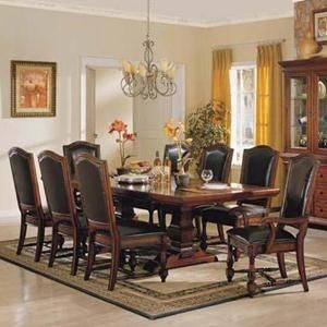 Ashford Trestle Table With 8 Chair In Brown Cherry