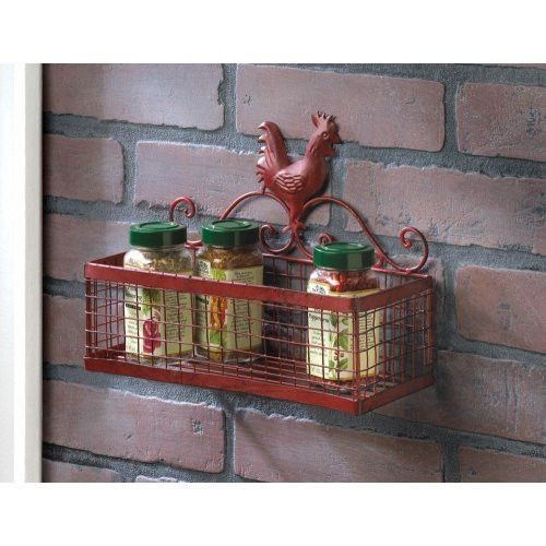 Rooster Decor Single Wall Basket - This metal Rooster Decor Single Wall Basket turns empty wall space into functional storage or delightful display space!