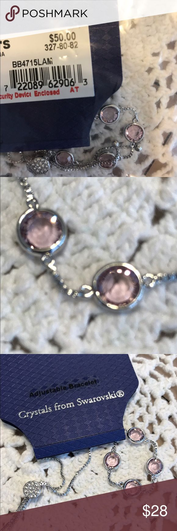 """NWT """"Brilliance"""" Adjustable bracelet NWT Adjustable bracelet from Brilliance with crystals from Swarovski. Adjusts by pulling on two ends. Expands 8"""" to as small as you want.  Light Purple. Please look at pictures and ask any questions before you make an offer. Thanks for your consideration ! ❤️👩🏻🎨 Brilliance Jewelry Bracelets"""