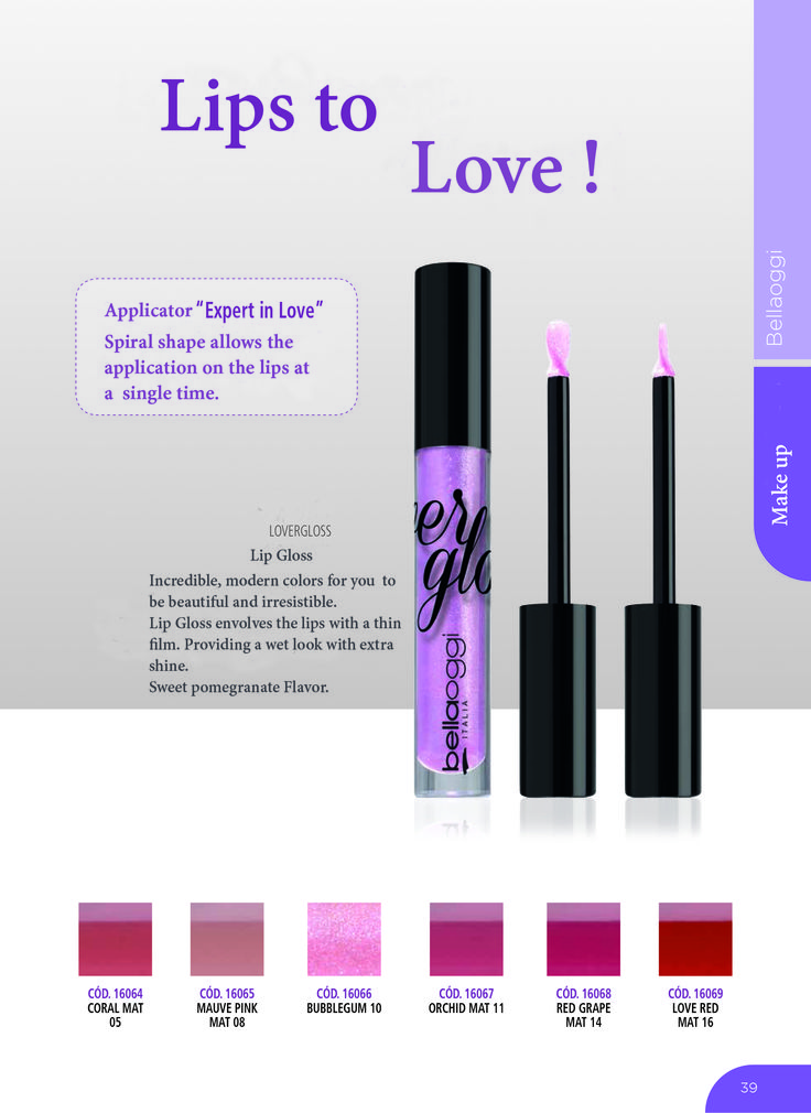 BELLAOGGI LOVERGLOSS RED GRAPE   MAT14 Extra Shining Lip-Gloss for Gloss Lovers. It wraps your lips with a light film for a Wet and extra-shining effect. Incredibly shining and wearable, not sticky with a juice pomegranate flavor. Made in Italy