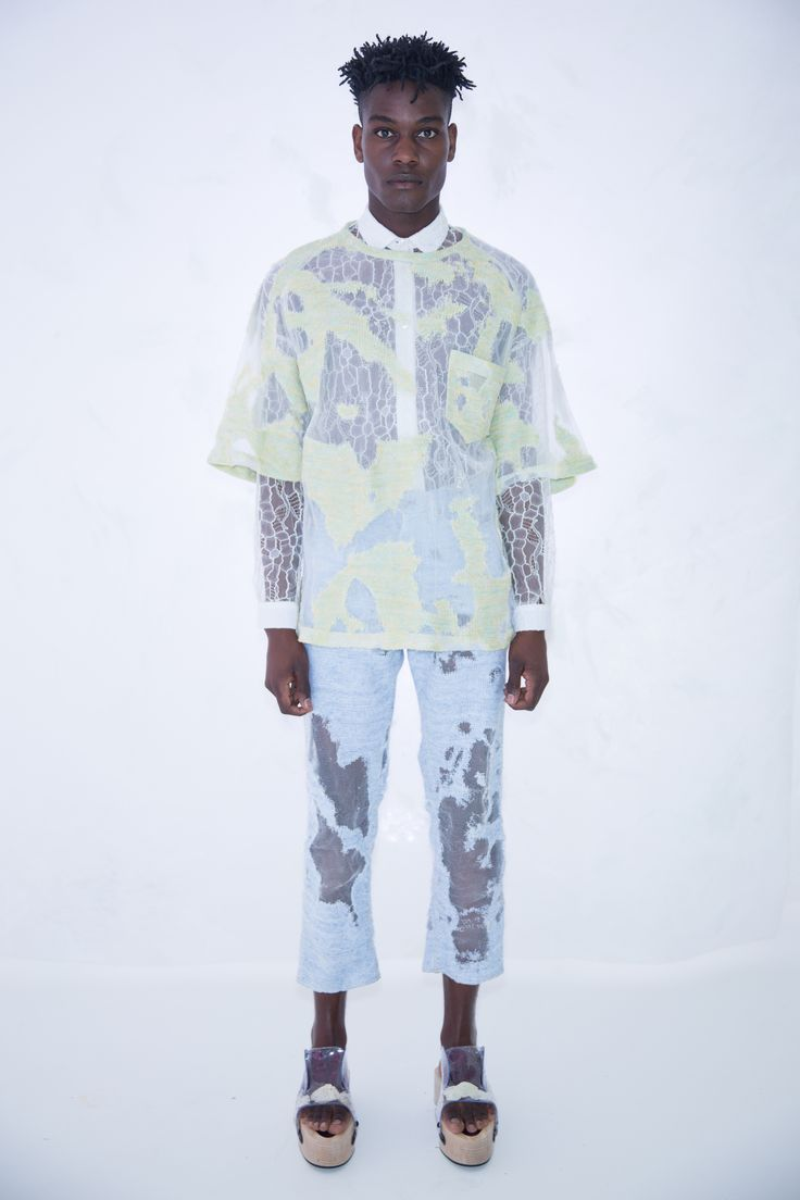 KA WA KEY Spring Summer 2017 London Collections: MEN Experimental sensuous romantic textile on Menswear / Womenswear / Knitwear as an east-meet-west impressionism painting Lime Yellow T-shirt White Lace Shirt Light Blue Denim Devore Knit Jeans